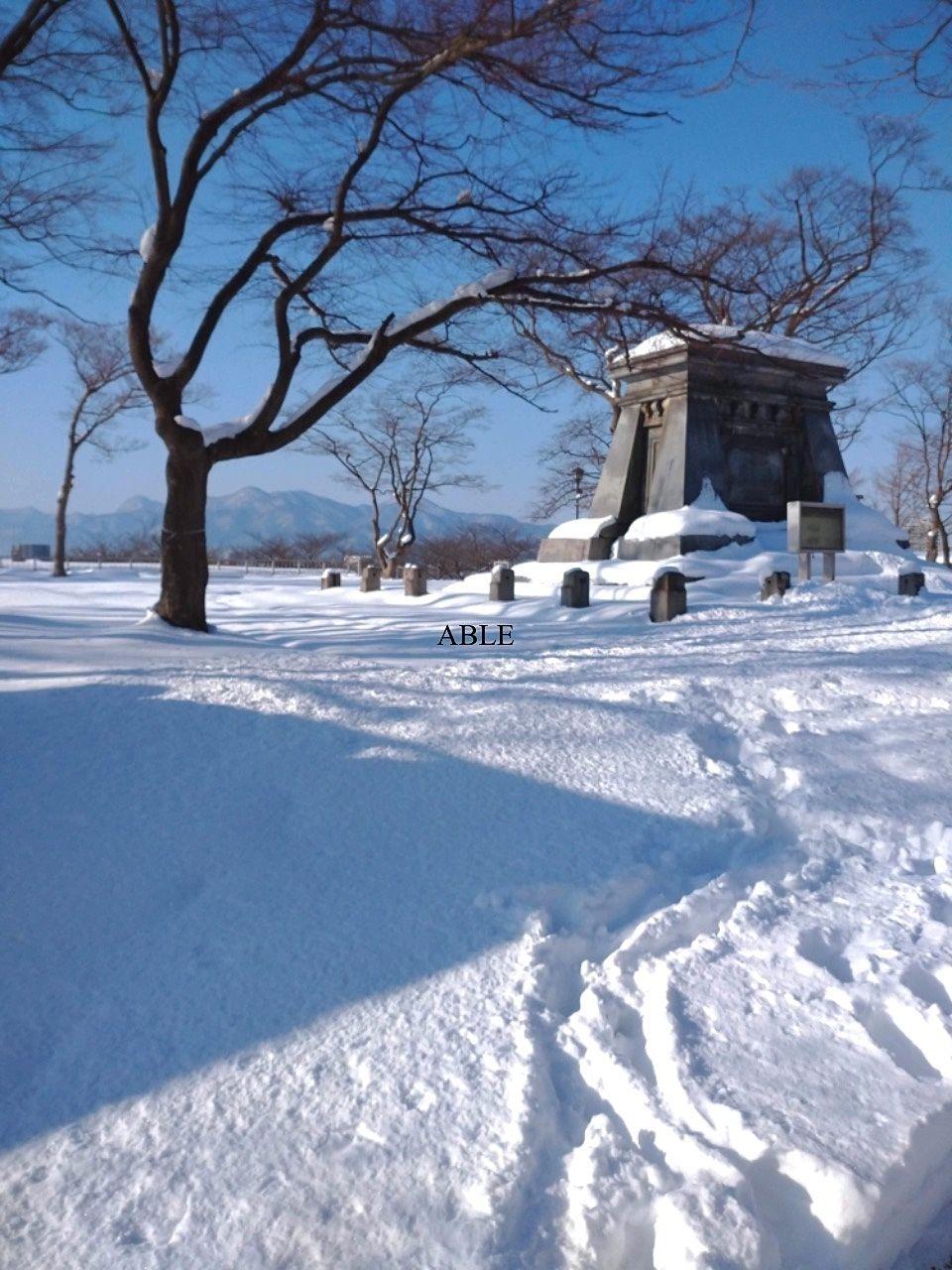 雪道散歩 盛岡城跡公園