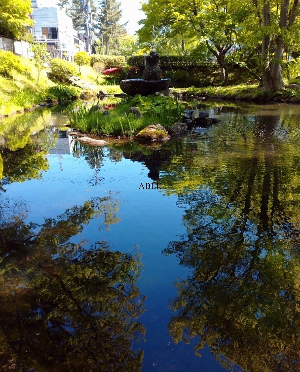 鶴ヶ池の水面に映る風景…5月
